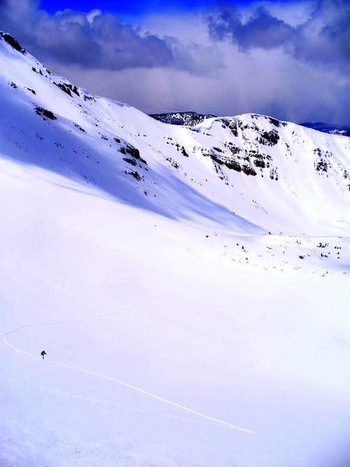 Ski ascent to Kletting's East Ridge