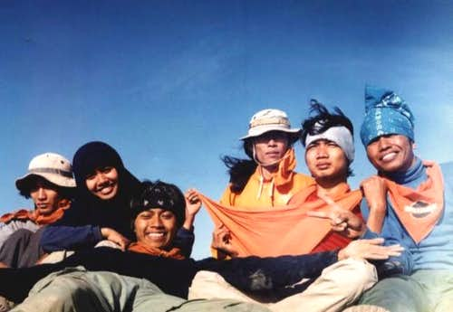 my team on Agung's peak at...