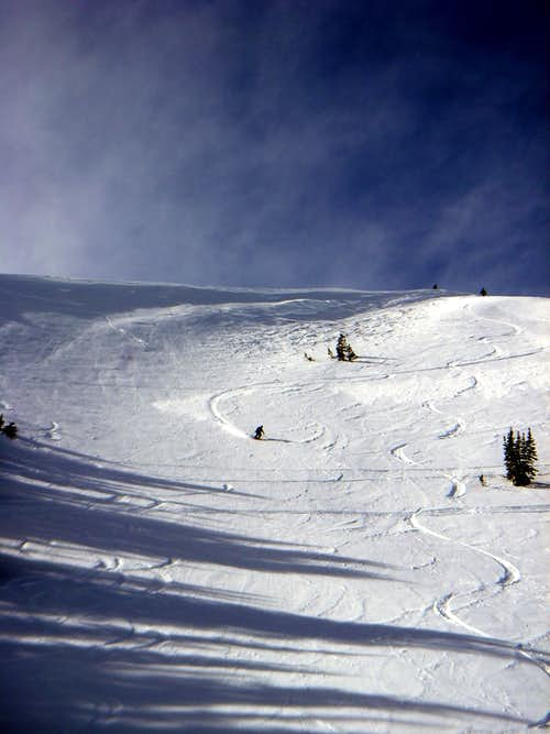 Skiing the main bowl