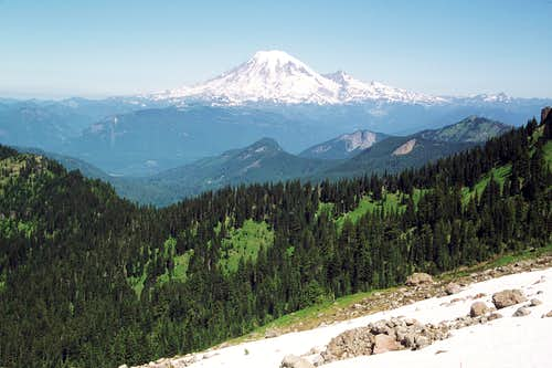 Looking over to Mt. Rainier from Lily Basin Trail