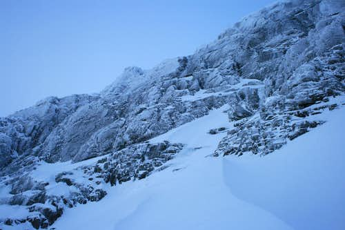 Looking up the Aphrodite route on Ben Nevis\'s