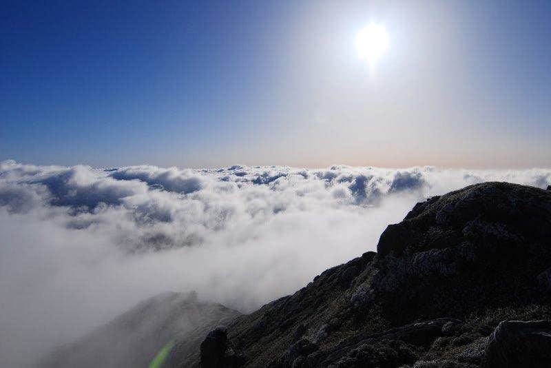 Summit view over the clouds