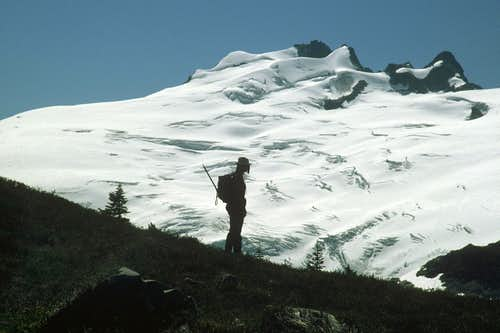 Figure Silhoutted against Challenger Glacier