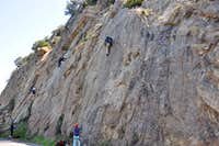 Climbers on Crag Full of Dynamite