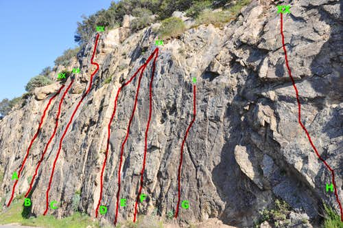 "Routes of ""Crag Full of Dynamite"""