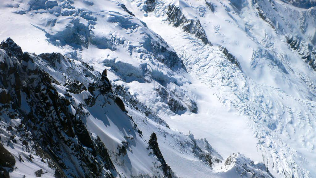 Looking down the arete