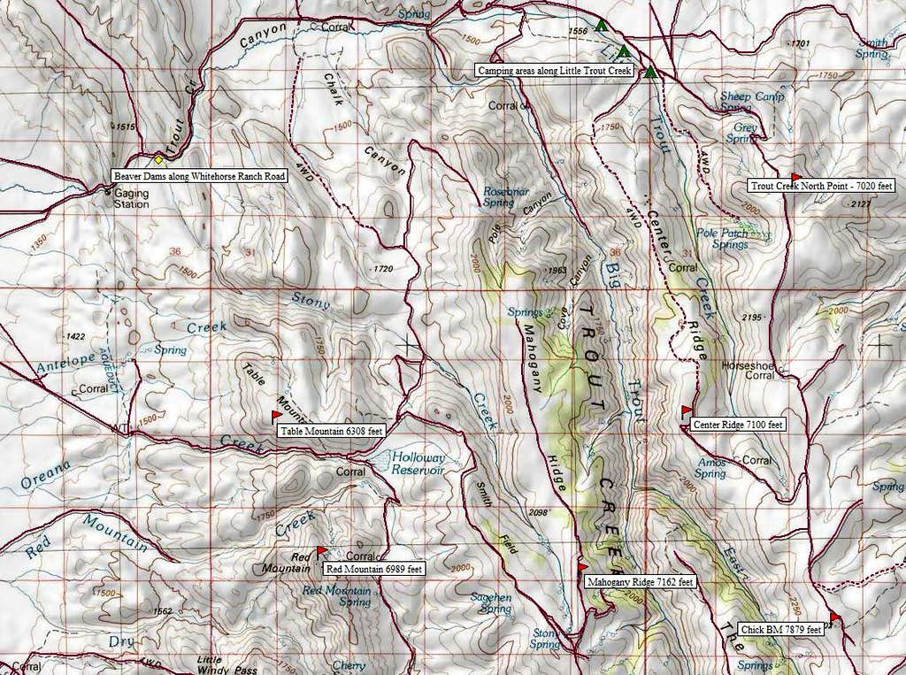 Map of North Trout Creek Range