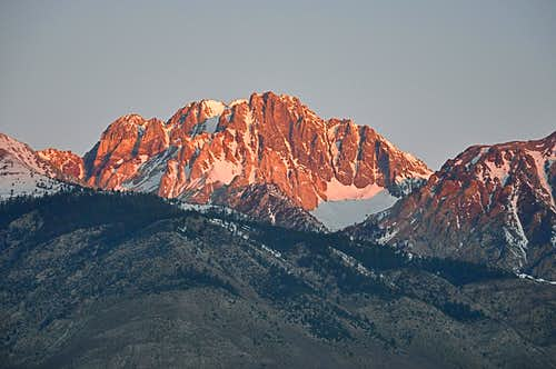 First Rays of sun on Split Mountain