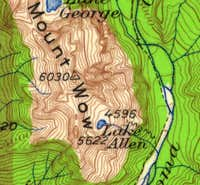 1924 Topo showing Lake Allen trail