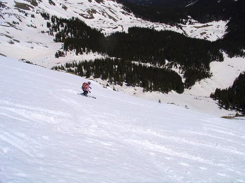 Jen skiing Sin Nombre\'s north slope