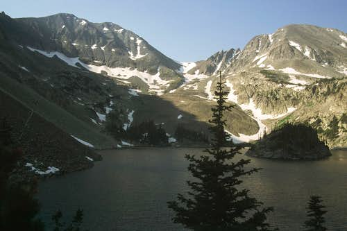 Mounts Richthofen and Mahler from Lake Agnes
