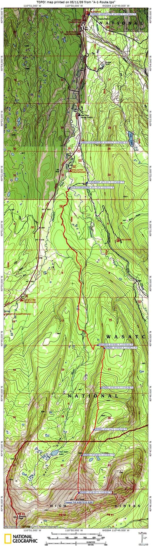 North ridge of A-1 top map