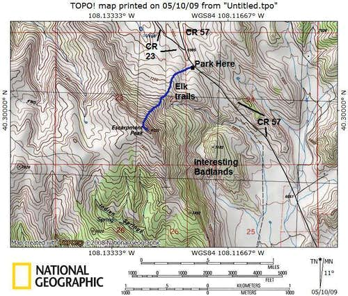 Map of Escarpment Peak