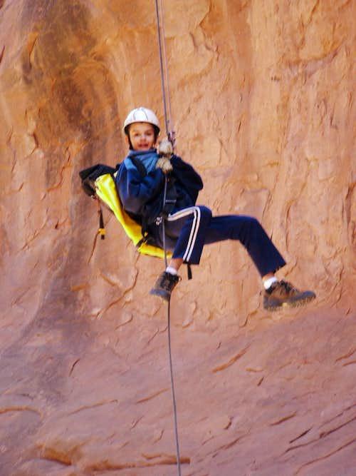 Evan at bottom of Lomatium Canyon