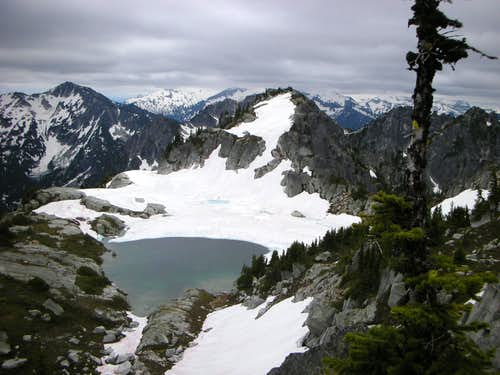 Thunder Mountain Lakes near summit of Nimbus. Mac Peak in Distance.