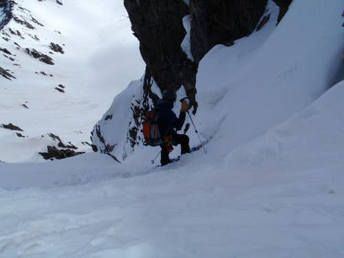 Skiing the North Couloir