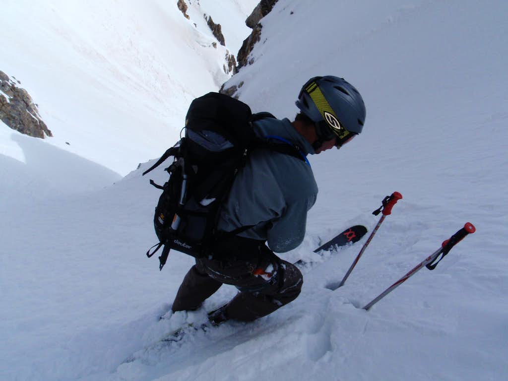 Tyler in the North Couloir