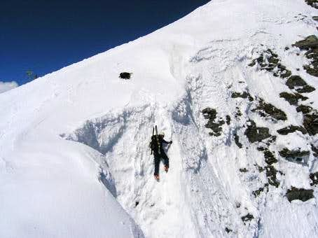 Northface couloir: Climbing...