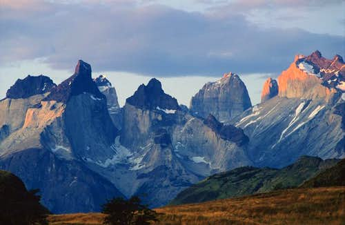 Sunset over Cuernos del Paine and Torres in the back