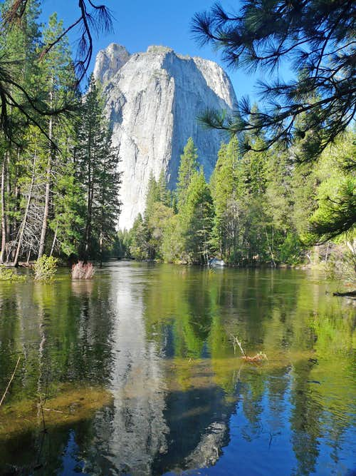 Middle Cathedral Rock from Merced River