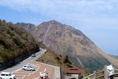 Fugendake and Heisei Shinzan from toll road observatory deck
