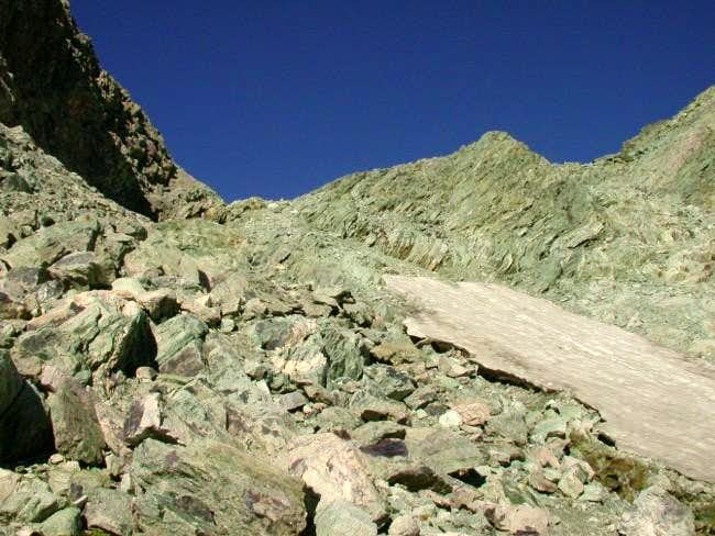 The steep and narrow gully...