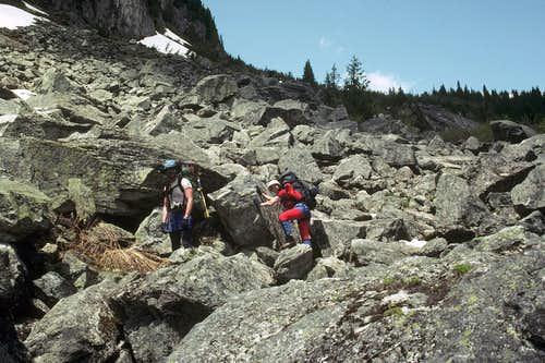 The interminable boulder field on Eldorado