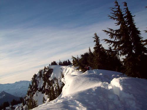 Cornices on the summit ridge
