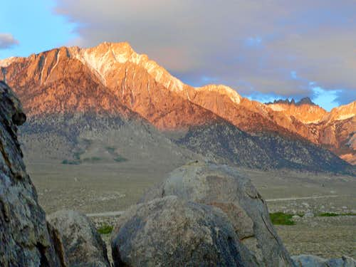 Morning alpenglow on Lone Pine Peak and Mt. Whitney