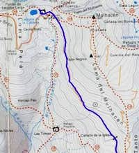 map for the trail towards the...