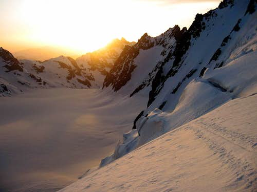 Dawn on the Glacier Blanc.