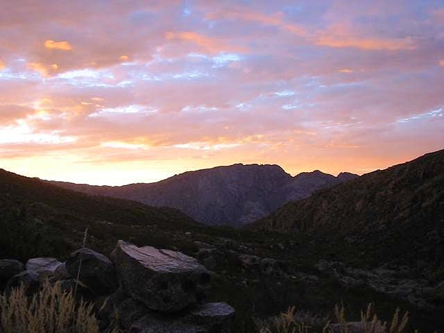 Waaihoek Peak seen at sunset...