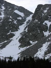 The Approach Couloir from Como Lake