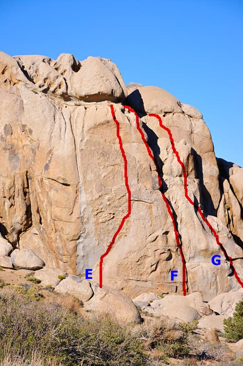 Routes of the south face,