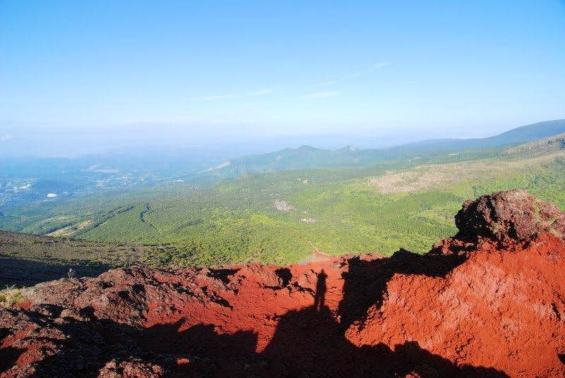 From the crater rim southeastwards