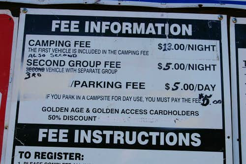 Bear lake CG 2009 Fees