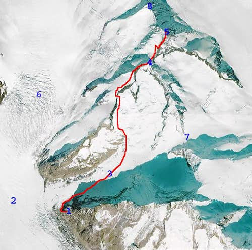 Gross Grünhorn normal route map