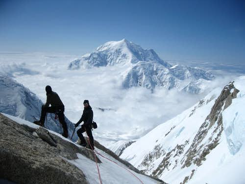 Two Climbers and Mt. Hunter
