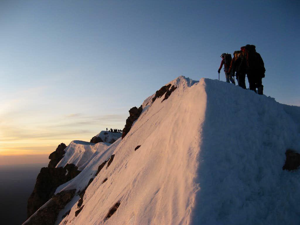 Sunrise on Hood's summit ridge