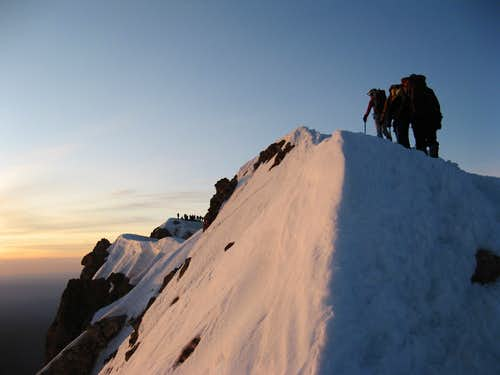 Sunrise on Hood's summit ridge