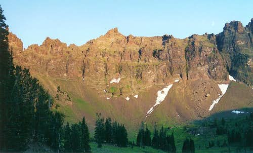Cliffs of Hyalite Basin, Sunset