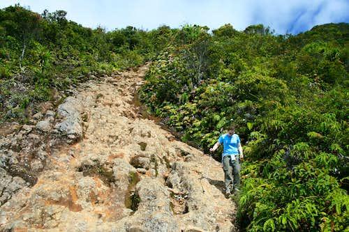 Descending Gunung Sinabung's lava flow