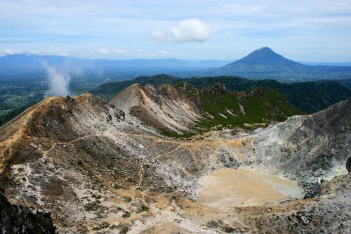 Gunung Sibayak's crater with Gunung Sinabung in background