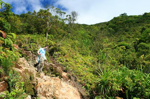 Descending Gunung Sinabung's lave flow