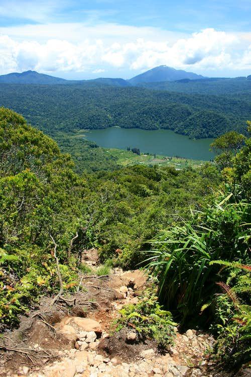 View down lava flow to Lake Kawar below