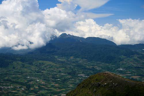 View to Gunung Sibayak from Gunung Sinabung's summit