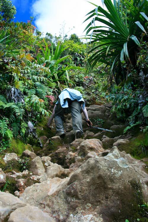 Climbing Gunung Sinabung's lava flow
