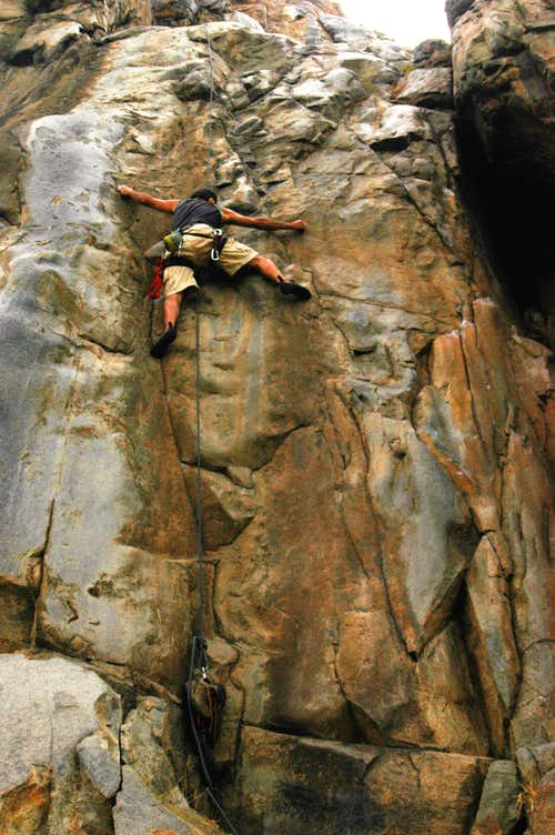 Roped solo of Master of De-Feet at Mission Gorge
