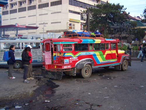 The rented jeepney waiting for departure to Ambangeg