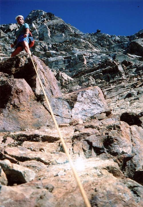 <b>33 ... <font color=green>M. EMILIUS</font> (3559m) <font color=red>W-SW WALL  &  West Ridge, direct and new route</font> 1986</b>